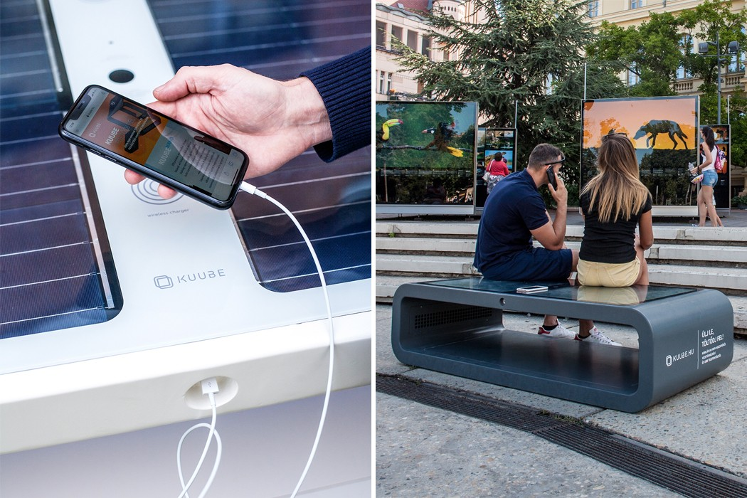By using solar energy, these smartbenches give you charging ports and public WiFi throughout the year!
